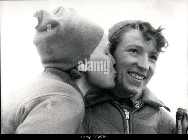 Feb. 20, 1964 - Pictured is the winner of the women's 5km Cross-Country Ski Soviet Klavdiya Boyaskikh(right) - Stock Image
