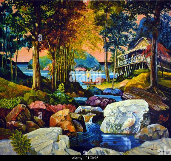 Hugo Yonzon, 'boatman' 1992, oil on canvas - Stock Image