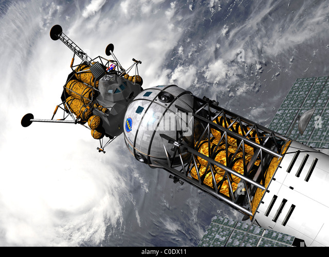 Artist's concept of a space tug docked with a lunar lander. - Stock Image