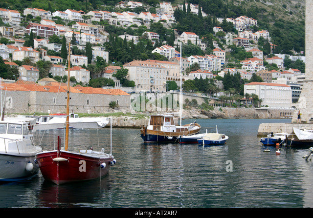 Pleasure boats moored in Dubrovnik harbour,   Dubrovnik, Croatia, Europe, - Stock Image