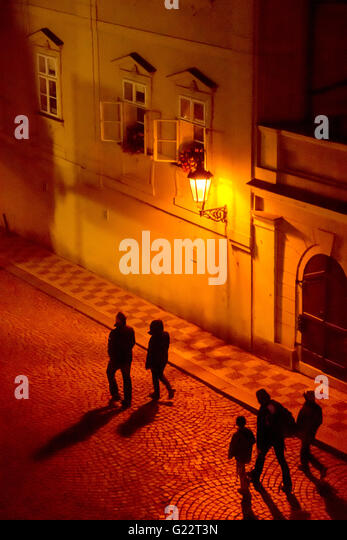 Prague by night. Prague is famous for its dim street lighting at night. Old town, Prague, Czech Republic - Stock Image