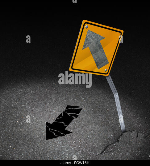 Direction problem business concept as a symbol for being off course as a damaged traffic sign with a lost arrow - Stock Image