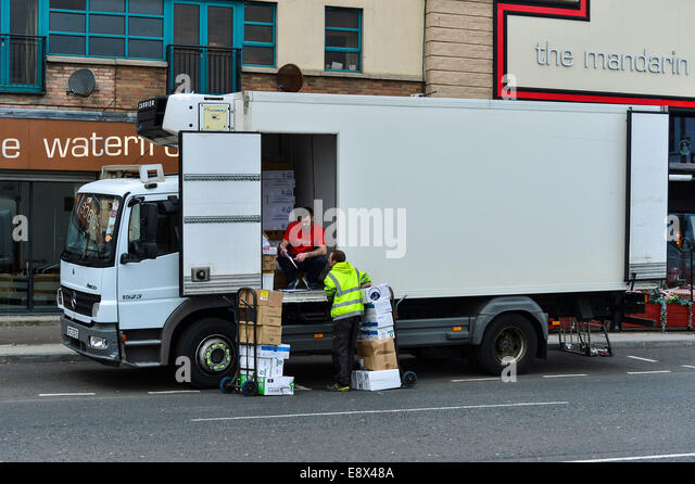 Stock Photo - Lorry delivering food supplies to Chinese restaurant, Derry, Londonderry, Northern Ireland. ©George - Stock Image