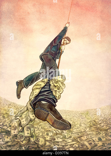 Businessman hanging on rope while money hand grabbing from leg depicting man resisting debt - Stock-Bilder