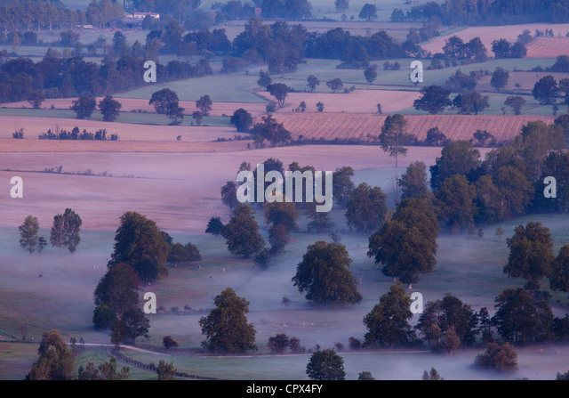 Dourgne and the Lauragais countryside at dawn, Tarn, Midi Pyrénées, France - Stock Image