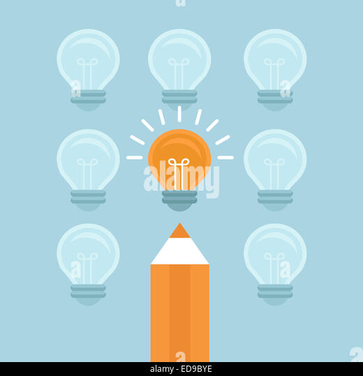 Marketing concept in flat style - stand out from the crowd - bright light bulb and pencil - Stock-Bilder