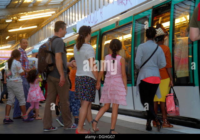 Paris France Europe French 10th 19th arrondissement Jaures Metro Station Line 2 5 7 subway public transportation - Stock Image
