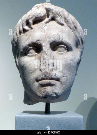 Head piece from the Parthenon Frieze, Acropolise, Athens. This head was sculptured between 443 and 438 BC. - Stock Image