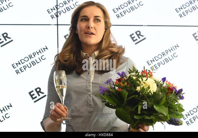 Prague, Czech Republic. 28th Mar, 2017. Czech downhill skier Sarka Strachova, 32, ended her career today after having - Stock-Bilder