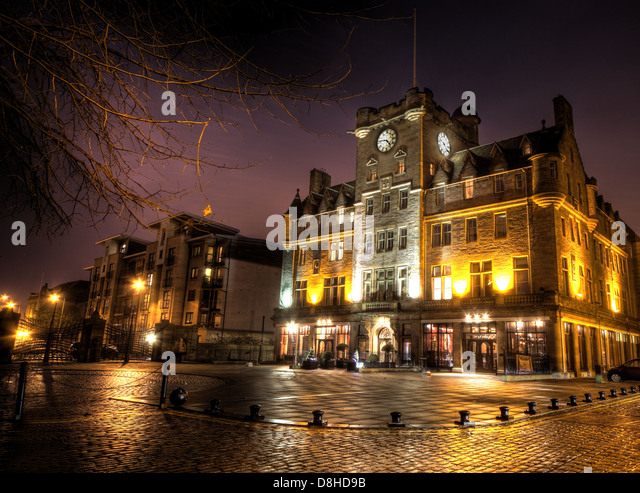 The Malmaison Hotel at Leith at Night @Hotpixuk - Stock Image