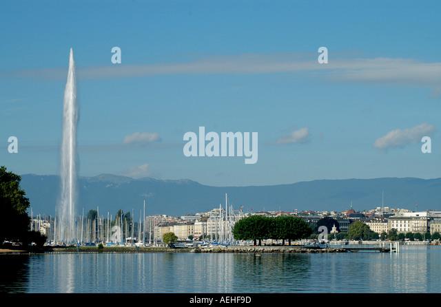 Switzerland Lake Geneva and Fountain - Stock Image