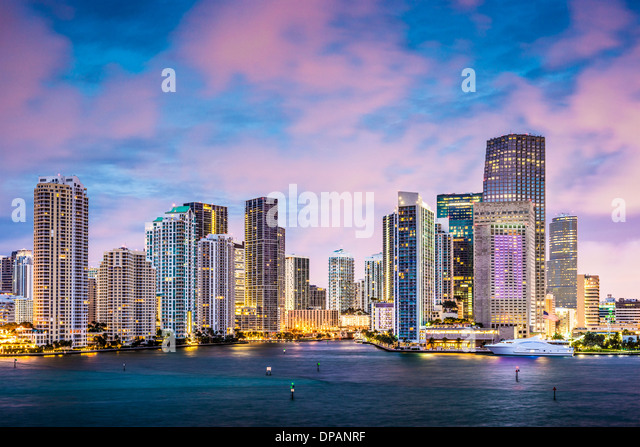 Skyline of Miami, Florida, USA at Brickell Key and Miami River. - Stock Image