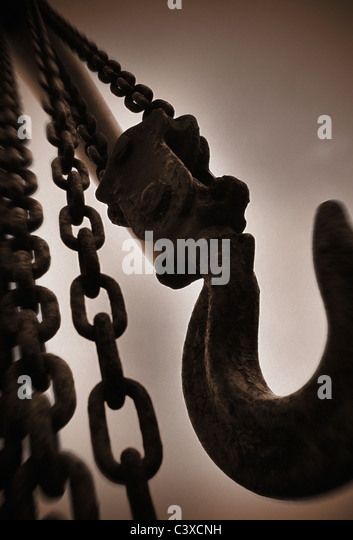 heavy chain and lifting hook - Stock Image