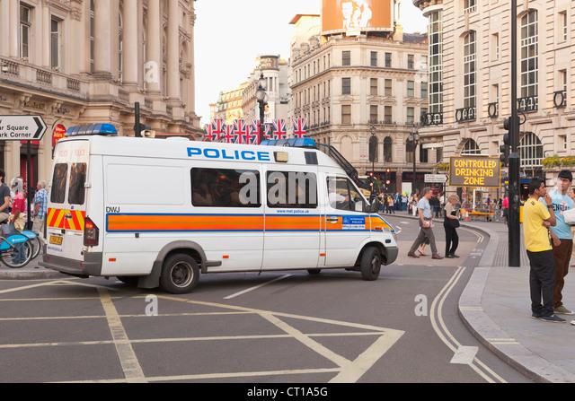 Police Mini Bus Van in central London, UK - Stock Image