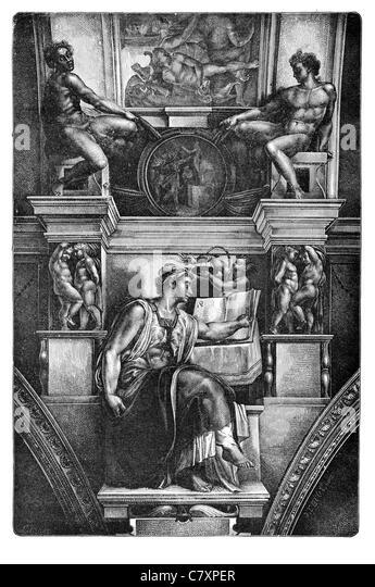Sistine chapel Erythraean Sibyl prophetess classical antiquity Apollonian oracle Erythrae Michelangelo - Stock Image