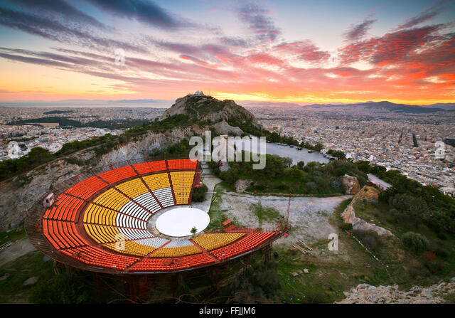 Athens from Likabetus Hill at sunset. - Stock Image