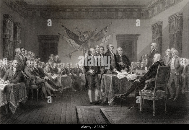 The Declaration of Independence July 1776 - Stock Image