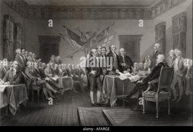The Declaration of Independence July 1776 - Stock-Bilder
