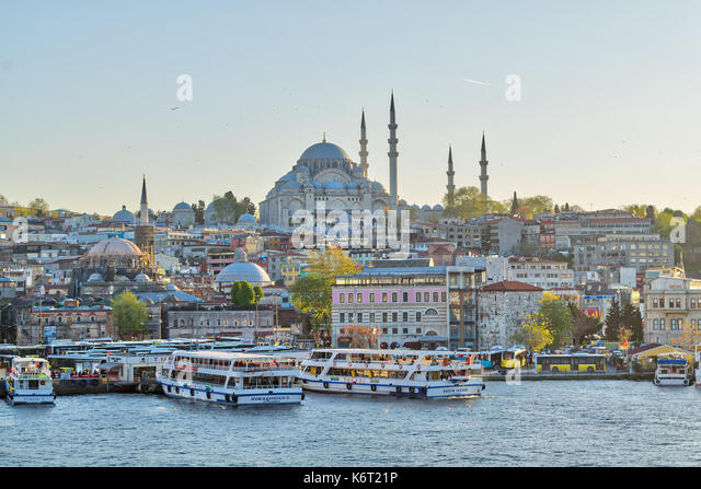Istanbul, Turkey - April 25, 2017: Istanbul city view from Galata Bridge overlooking the Golden Horn with Eminonu - Stock Image