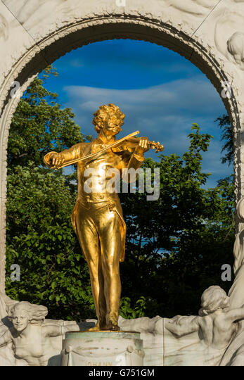 Johann Strauss Monument at Stadtpark, Vienna, Austria - Stock Image
