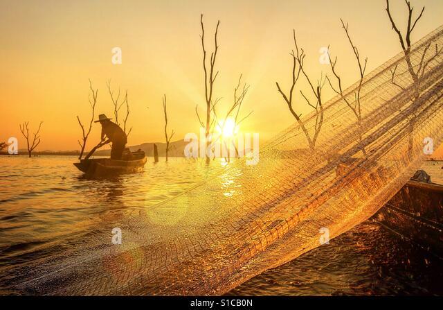 Silhouette fisherman life - Stock-Bilder