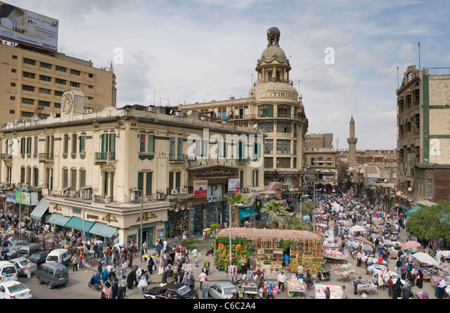 Aerial view of a typical neighbourhood souk in Cairo Egypt - Stock Image