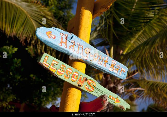 The Netherlands, Bonaire Island, Dutch Caribbean, Kralendijk, Surfbeach. Signboard. Wind surfing at Lac Bay. - Stock Image