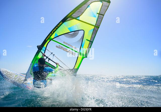 Windsurfing action in Tarifa, Costa de la Luz, Cadiz, Andalusia, Spain. - Stock-Bilder