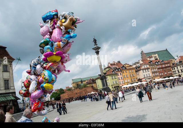 scenic warsaw Old Town landmark travel balloons EU - Stock-Bilder
