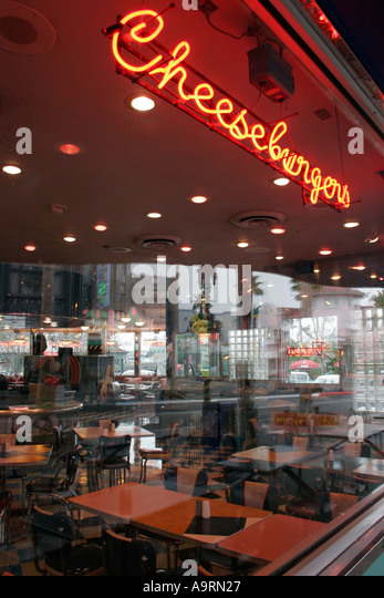 Neon lights in diner restaurant window at Universal Studios Florida Orlando Kissimmee - Stock-Bilder