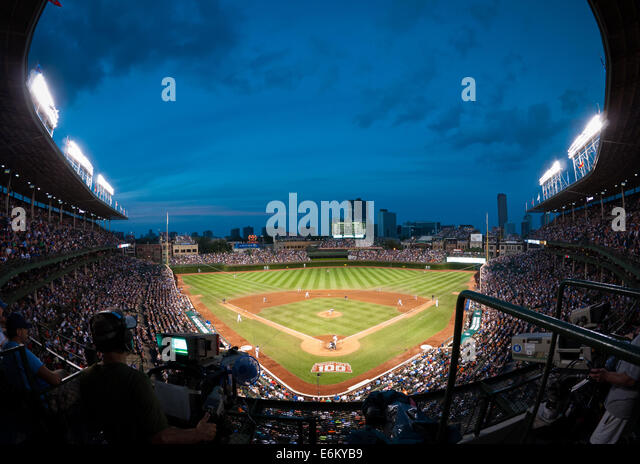 A fisheye, wide angle view of Wrigley Field during a Chicago Cubs and San Francisco Giants baseball game on August - Stock Image