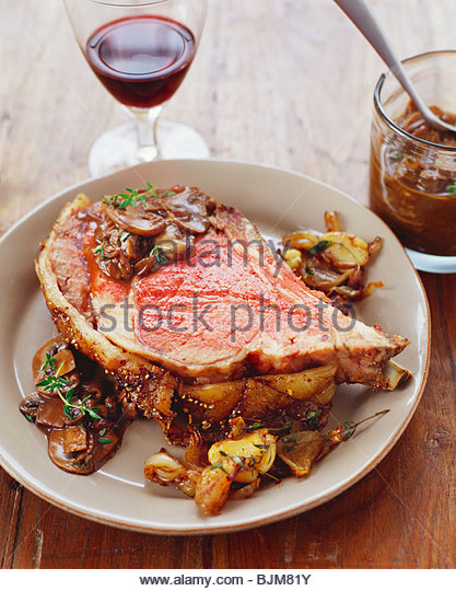 Prime Rib with Mushrooms - Stock Image