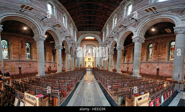 St Annes Belfast Cathedral Interior wide panorama - Stock Image