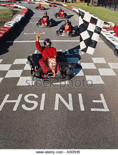 Go kart racing - Stock-Bilder