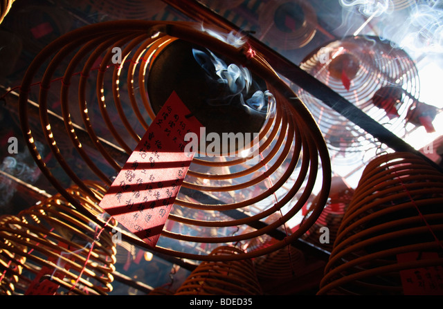 Incense coils in Man Mo Temple, Sheung Wan, Hong Kong, China. - Stock Image