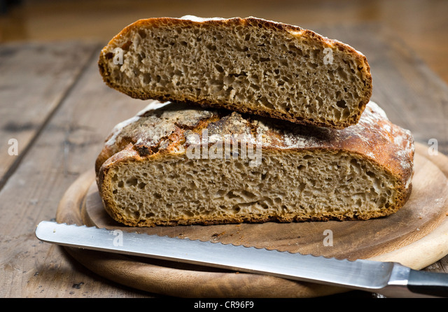 Cut sourdough bread, the dough does not need to be kneaded, No-Knead-Bread - Stock Image