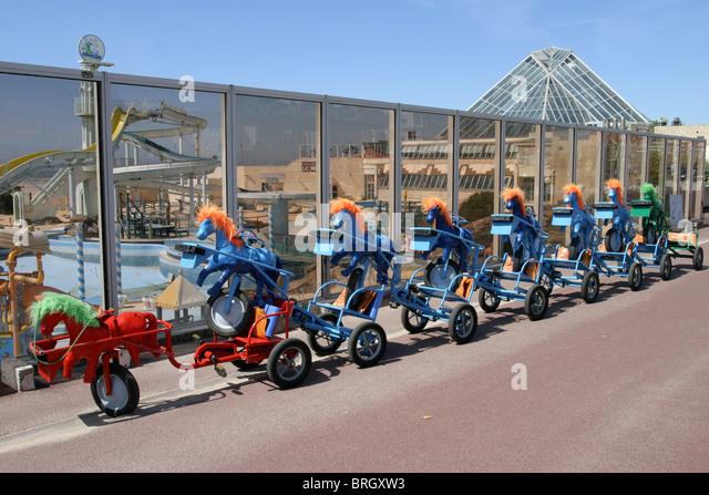 Seaside entertainment  hire carts - Stock Image