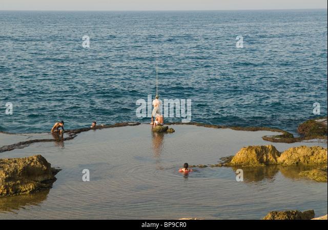 Fishing beirut sea mediterranean stock photos fishing for Videos of people fishing