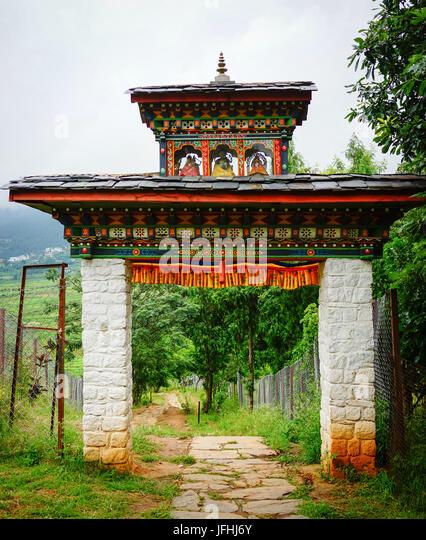 The gate of Tibetan monastery at countryside in Thimphu, Bhutan. - Stock Image