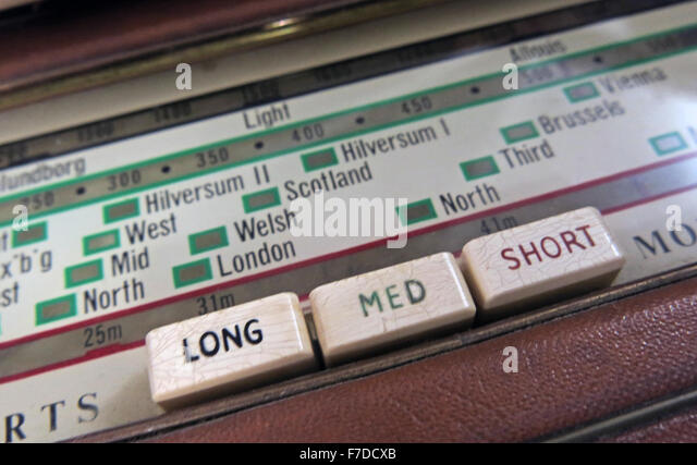 Antique Roberts Shortwave, Mediumwave, Longwave radio dial - Stock Image