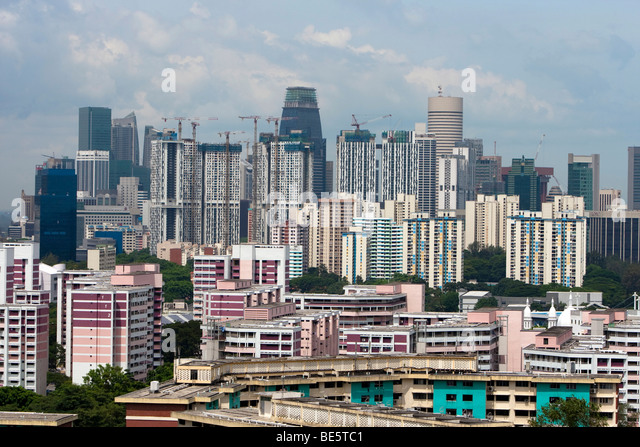 Singapore skyline, skyscrapers with cheap housing, behind the expensive central business district of Singapore, - Stock Image