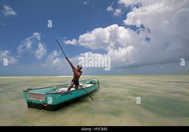 child rowing a boat, watamu, kenya, africa - Stock Image
