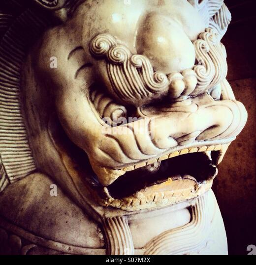 Chinese lion head - Stock Image