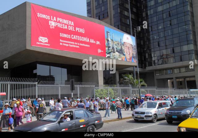 Peru Lima San Isidro Avenida Canaval y Moreyra Petroperu Petróleos del Perú headquarters street scene - Stock Image