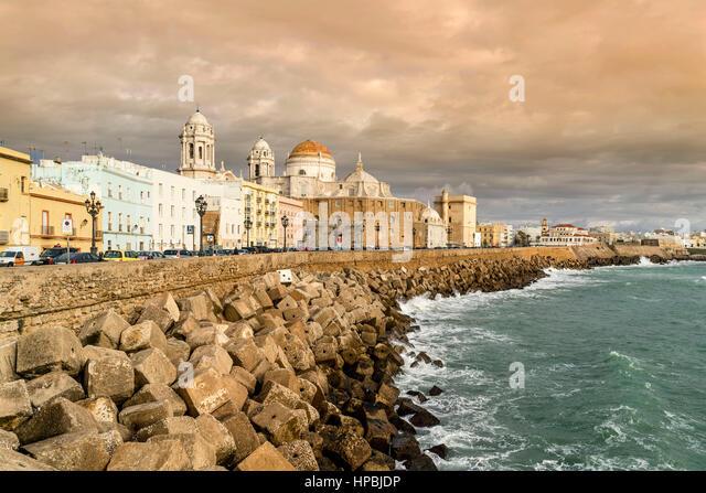Cityscape of Cadiz, baroque cathedral, Paseo Campo del Sur, Andalucia, Spain, - Stock-Bilder