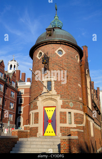 Boston Massachusetts Cambridge Bow Street Harvard Lampoon Building Harvard University housing - Stock Image