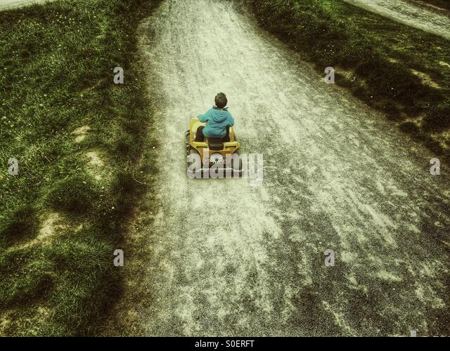 Little boy karting - Stock Image