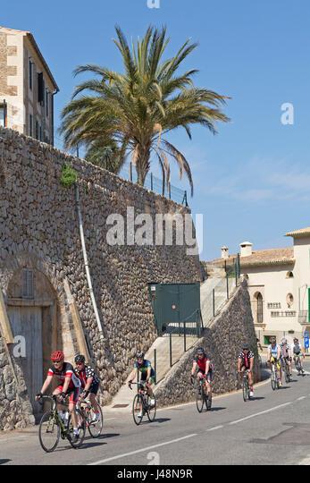 racing cyclists in Banyalbufar, Majorca, Spain - Stock Image