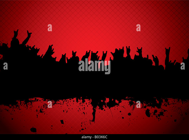 red and black silhouette of a rock concert crowd - Stock Image