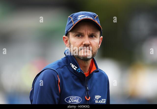 Hamilton, New Zealand. 25th Mar, 2017. March 25th 2017, Hamilton, New Zealand; Blackcaps Head Coach Mike Hesson - Stock-Bilder